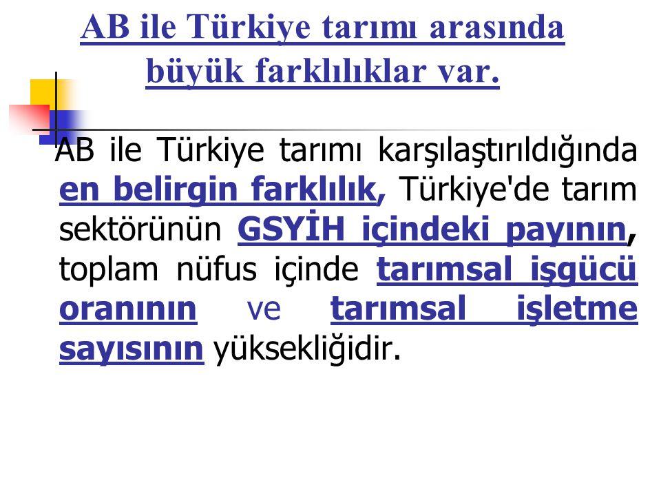 AB ile Türkiye tarımı arasında büyük farklılıklar var.
