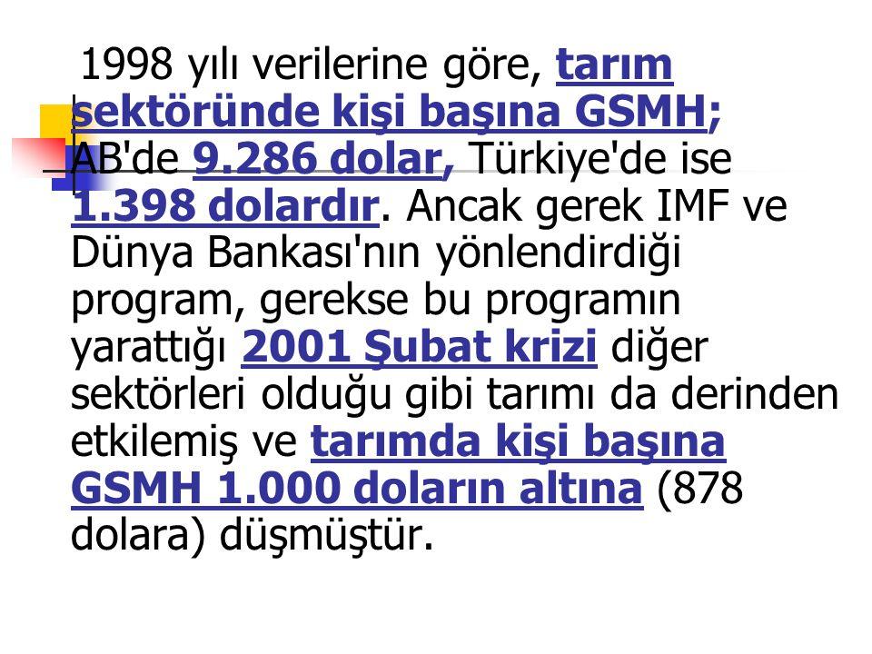 1998 yılı verilerine göre, tarım sektöründe kişi başına GSMH; AB de 9.286 dolar, Türkiye de ise 1.398 dolardır.