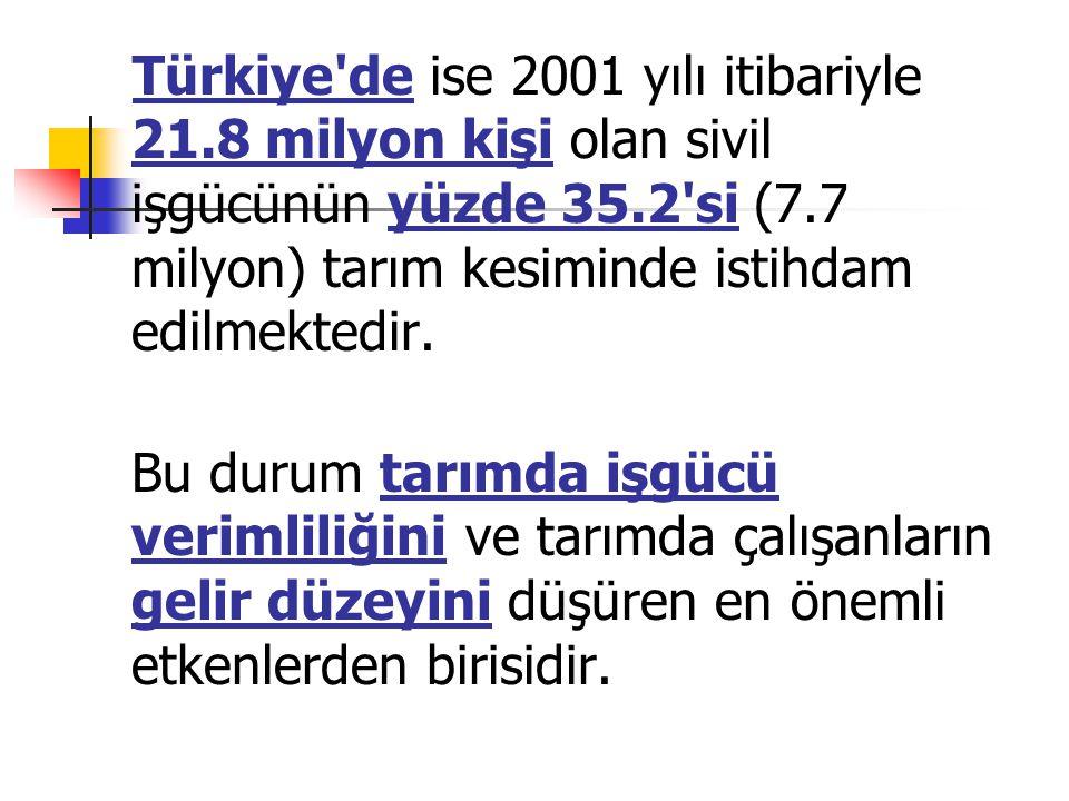 Türkiye de ise 2001 yılı itibariyle 21.8 milyon kişi olan sivil işgücünün yüzde 35.2 si (7.7 milyon) tarım kesiminde istihdam edilmektedir.