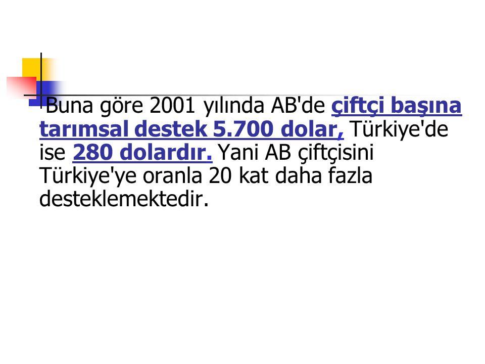 Buna göre 2001 yılında AB de çiftçi başına tarımsal destek 5.700 dolar, Türkiye de ise 280 dolardır.