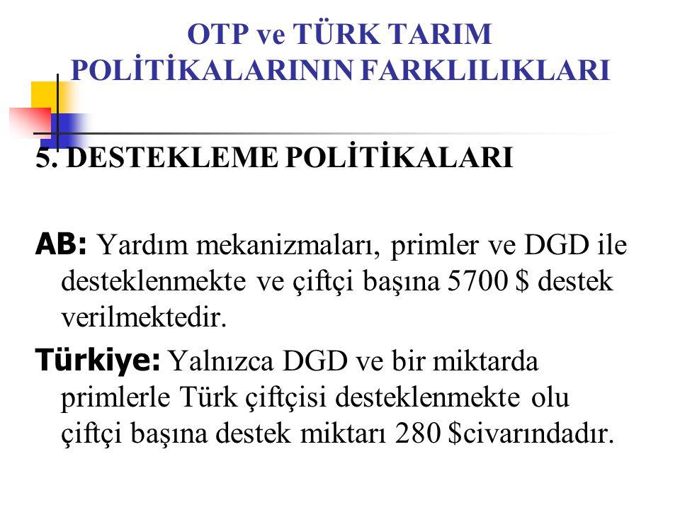 OTP ve TÜRK TARIM POLİTİKALARININ FARKLILIKLARI 5.