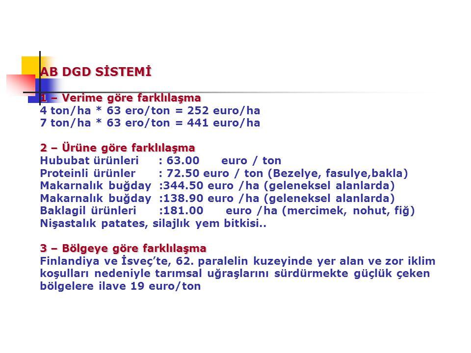 AB DGD SİSTEMİ 1 – Verime göre farklılaşma 2 – Ürüne göre farklılaşma 3 – Bölgeye göre farklılaşma AB DGD SİSTEMİ 1 – Verime göre farklılaşma 4 ton/ha * 63 ero/ton = 252 euro/ha 7 ton/ha * 63 ero/ton = 441 euro/ha 2 – Ürüne göre farklılaşma Hububat ürünleri : 63.00 euro / ton Proteinli ürünler : 72.50 euro / ton (Bezelye, fasulye,bakla) Makarnalık buğday :344.50 euro /ha (geleneksel alanlarda) Makarnalık buğday :138.90 euro /ha (geleneksel alanlarda) Baklagil ürünleri :181.00 euro /ha (mercimek, nohut, fiğ) Nişastalık patates, silajlık yem bitkisi..