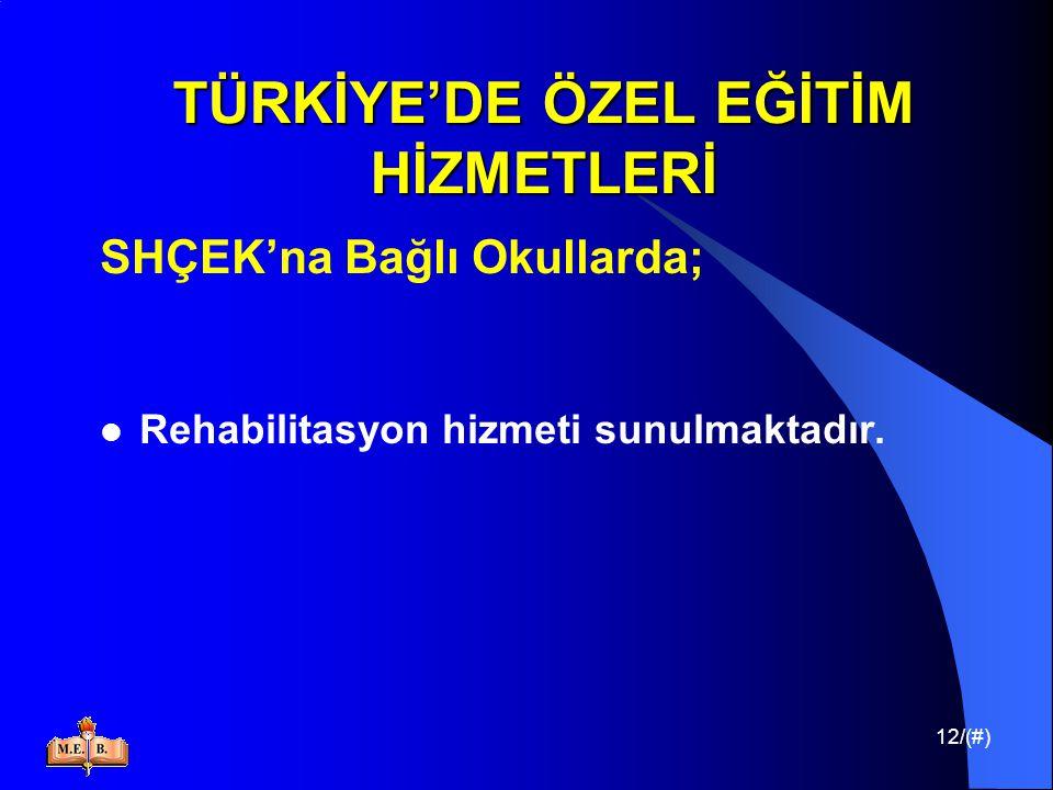 12/(#) TÜRKİYE'DE ÖZEL EĞİTİM HİZMETLERİ SHÇEK'na Bağlı Okullarda; Rehabilitasyon hizmeti sunulmaktadır.