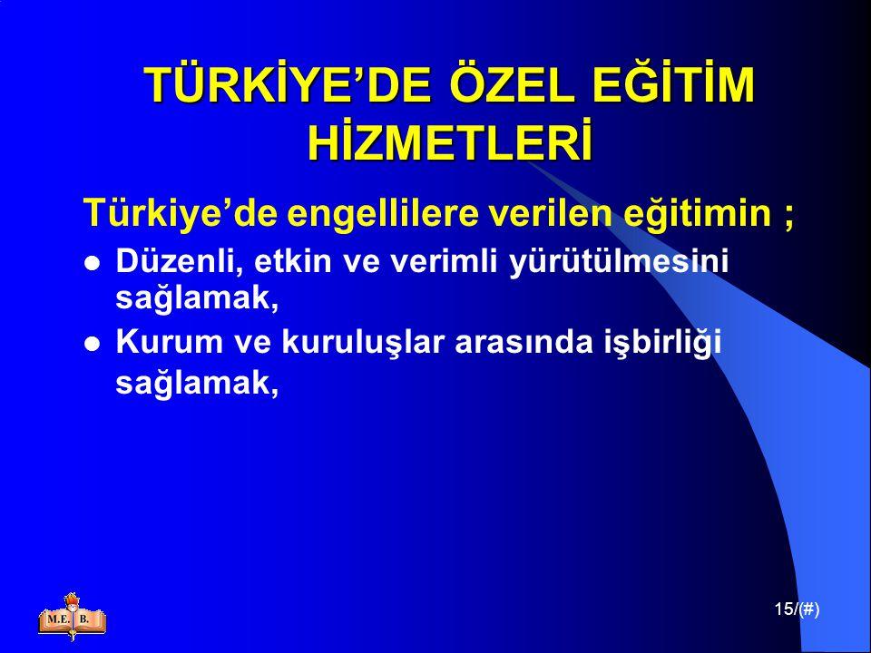 15/(#) TÜRKİYE'DE ÖZEL EĞİTİM HİZMETLERİ Türkiye'de engellilere verilen eğitimin ; Düzenli, etkin ve verimli yürütülmesini sağlamak, Kurum ve kuruluşl
