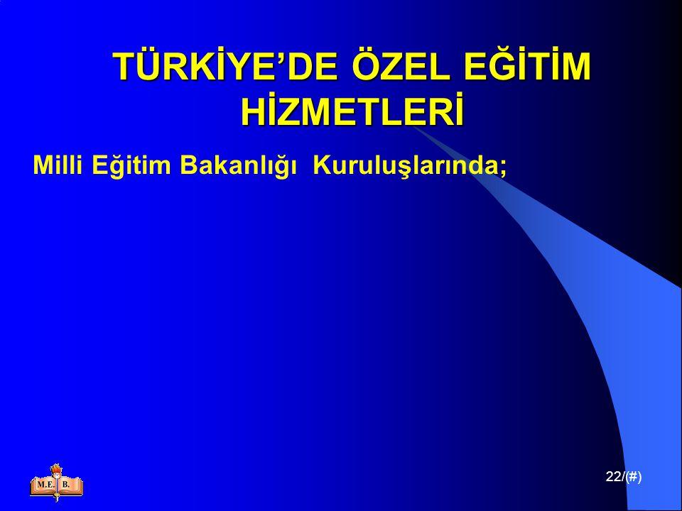 22/(#) TÜRKİYE'DE ÖZEL EĞİTİM HİZMETLERİ Milli Eğitim Bakanlığı Kuruluşlarında;