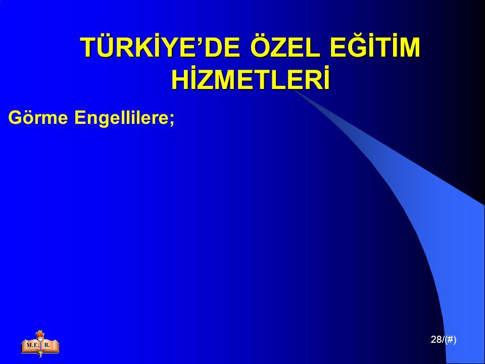28/(#) TÜRKİYE'DE ÖZEL EĞİTİM HİZMETLERİ Görme Engellilere;