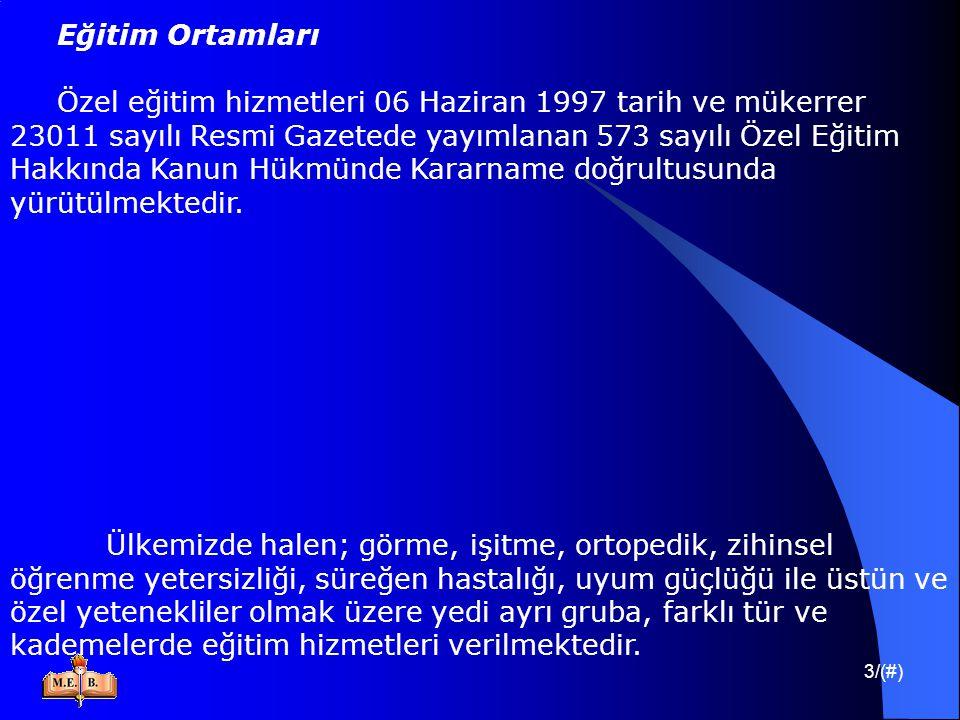 3/(#) Eğitim Ortamları Özel eğitim hizmetleri 06 Haziran 1997 tarih ve mükerrer 23011 sayılı Resmi Gazetede yayımlanan 573 sayılı Özel Eğitim Hakkında
