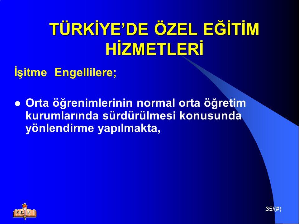 35/(#) TÜRKİYE'DE ÖZEL EĞİTİM HİZMETLERİ İşitme Engellilere; Orta öğrenimlerinin normal orta öğretim kurumlarında sürdürülmesi konusunda yönlendirme y