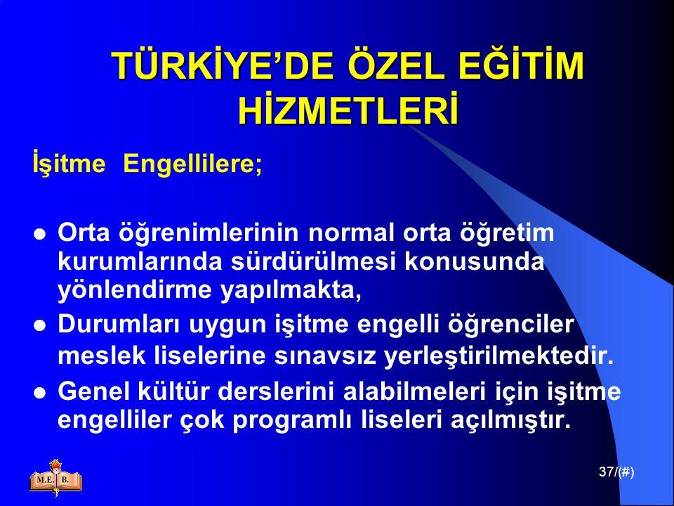 37/(#) TÜRKİYE'DE ÖZEL EĞİTİM HİZMETLERİ İşitme Engellilere; Orta öğrenimlerinin normal orta öğretim kurumlarında sürdürülmesi konusunda yönlendirme y
