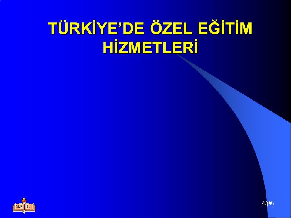 35/(#) TÜRKİYE'DE ÖZEL EĞİTİM HİZMETLERİ İşitme Engellilere; Orta öğrenimlerinin normal orta öğretim kurumlarında sürdürülmesi konusunda yönlendirme yapılmakta,