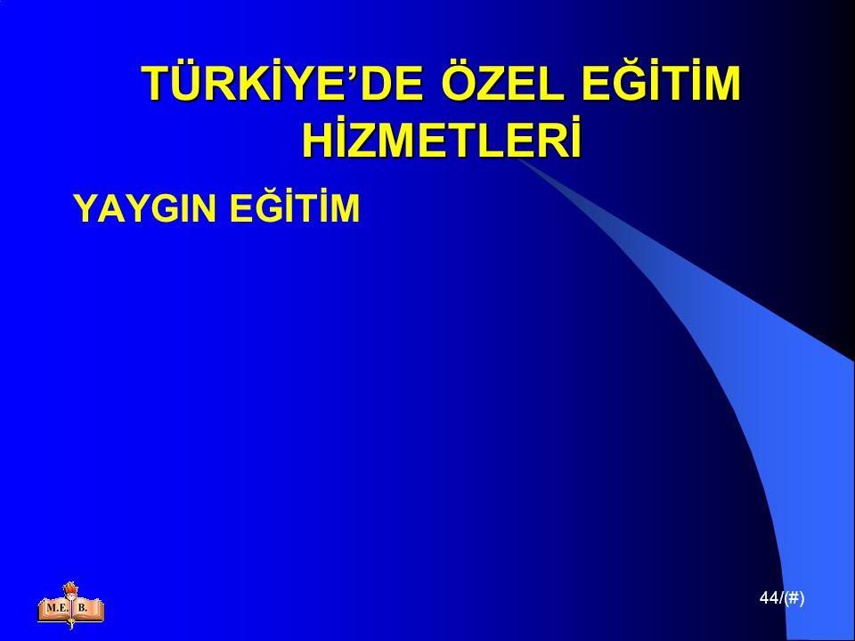 44/(#) TÜRKİYE'DE ÖZEL EĞİTİM HİZMETLERİ YAYGIN EĞİTİM