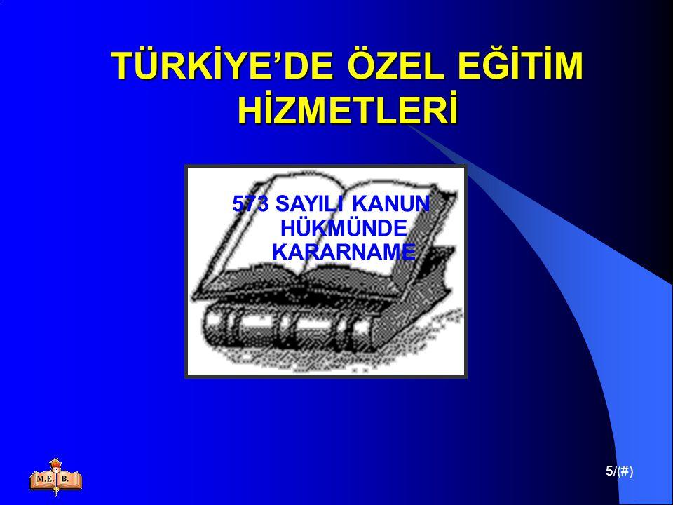 16/(#) TÜRKİYE'DE ÖZEL EĞİTİM HİZMETLERİ Türkiye'de engellilere verilen eğitimin ; Düzenli, etkin ve verimli yürütülmesini sağlamak, Kurum ve kuruluşlar arasında işbirliği sağlamak, Ulusal politikaların oluşmasına yardımcı olmak,