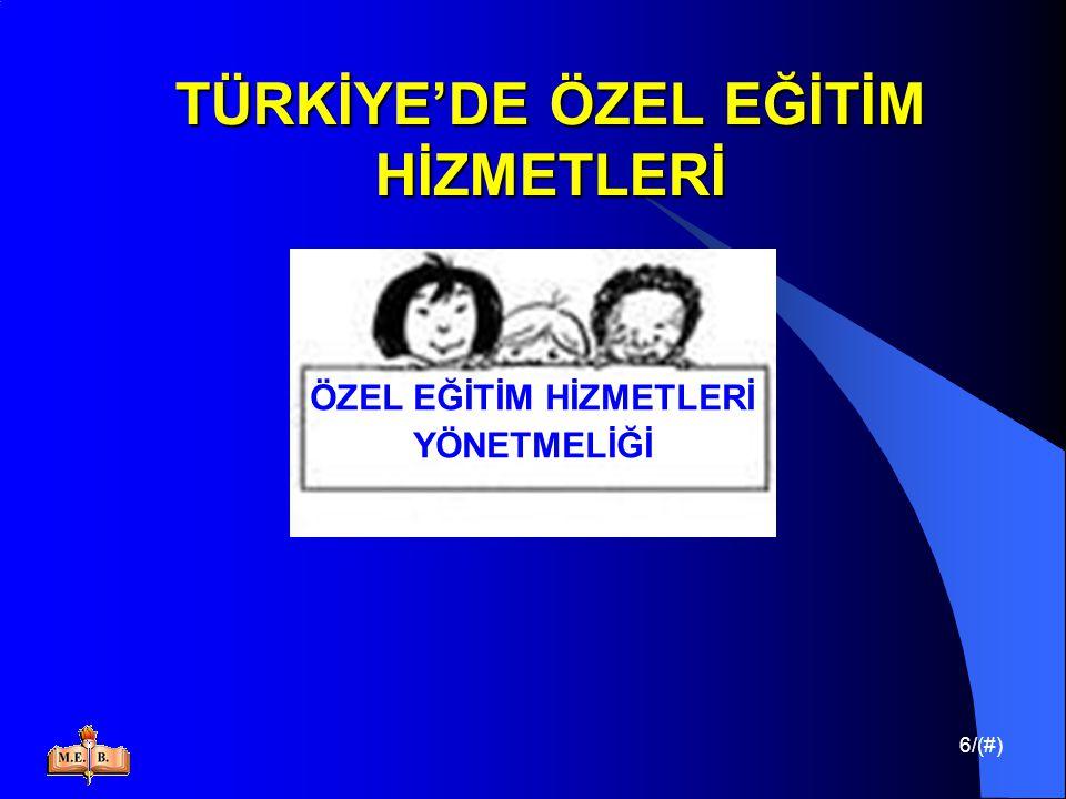 17/(#) TÜRKİYE'DE ÖZEL EĞİTİM HİZMETLERİ Türkiye'de engellilere verilen eğitimin ; Düzenli, etkin ve verimli yürütülmesini sağlamak, Kurum ve kuruluşlar arasında işbirliği sağlamak, Ulusal politikaların oluşmasına yardımcı olmak, Sorunları belirlemek ve çözüm yollarını araştırmak, amacıyla