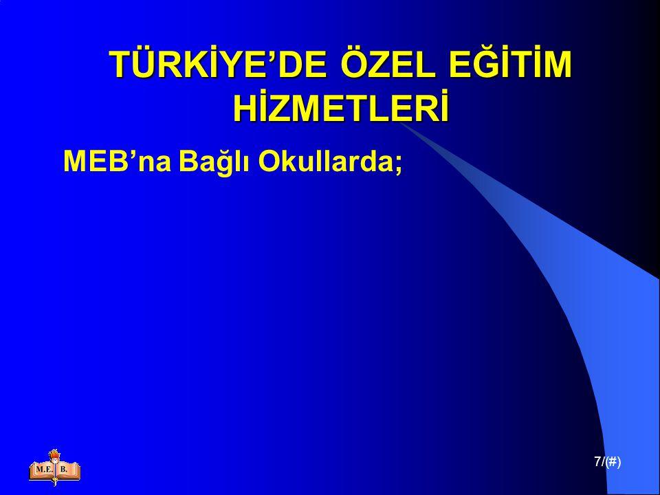 18/(#) TÜRKİYE'DE ÖZEL EĞİTİM HİZMETLERİ BAŞBAKANLIK ÖZÜRLÜLER İDARESİ BAŞKANLIĞI (ÖİB)