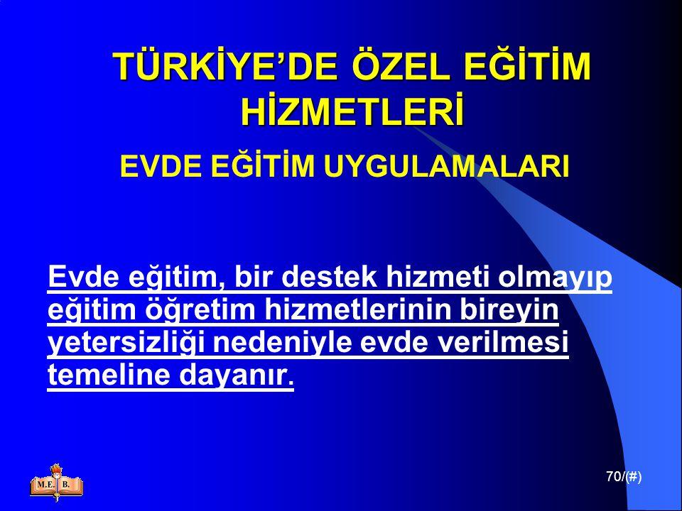 70/(#) TÜRKİYE'DE ÖZEL EĞİTİM HİZMETLERİ EVDE EĞİTİM UYGULAMALARI Evde eğitim, bir destek hizmeti olmayıp eğitim öğretim hizmetlerinin bireyin yetersi