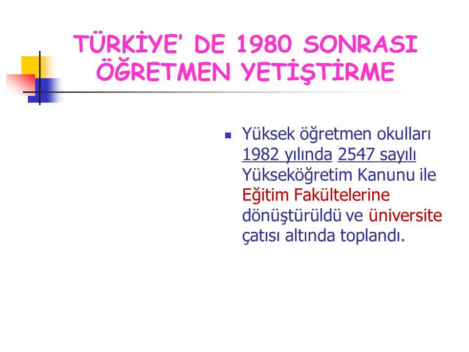 Yüksek öğretmen okulları 1982 yılında 2547 sayılı Yükseköğretim Kanunu ile Eğitim Fakültelerine dönüştürüldü ve üniversite çatısı altında toplandı. TÜ