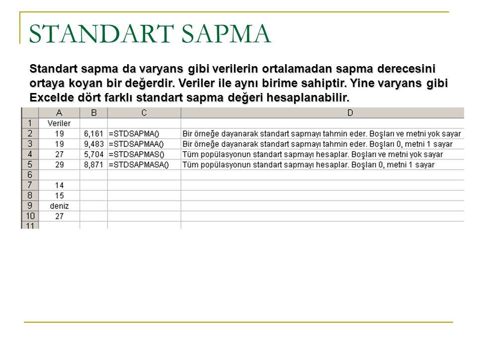 STANDART SAPMA Standart sapma da varyans gibi verilerin ortalamadan sapma derecesini ortaya koyan bir değerdir. Veriler ile aynı birime sahiptir. Yine