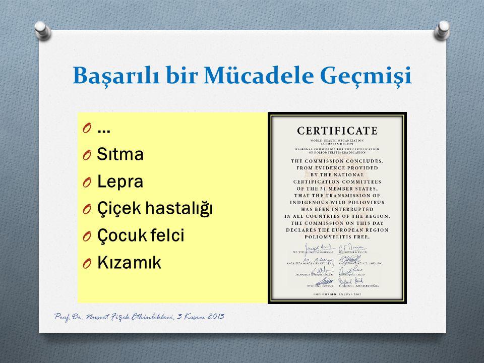 Başarılı bir Mücadele Geçmişi O … O Sıtma O Lepra O Çiçek hastalığı O Çocuk felci O Kızamık Prof.Dr. Nusret Fi ş ek Etkinlikleri, 3 Kasım 2013