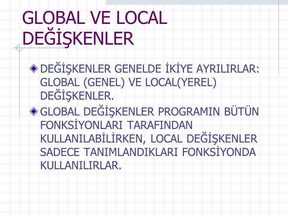 GLOBAL VE LOCAL DEĞİŞKENLER DEĞİŞKENLER GENELDE İKİYE AYRILIRLAR: GLOBAL (GENEL) VE LOCAL(YEREL) DEĞİŞKENLER.