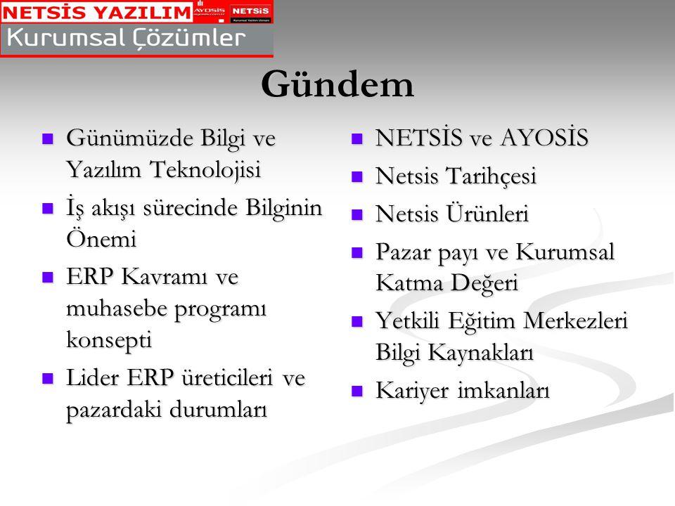 Türk Erp Pazarındaki Ürünler SAP : 2002 yılında % 25.1'lik pazar payıyla ERP pazarının dünya lideri durumundadır.