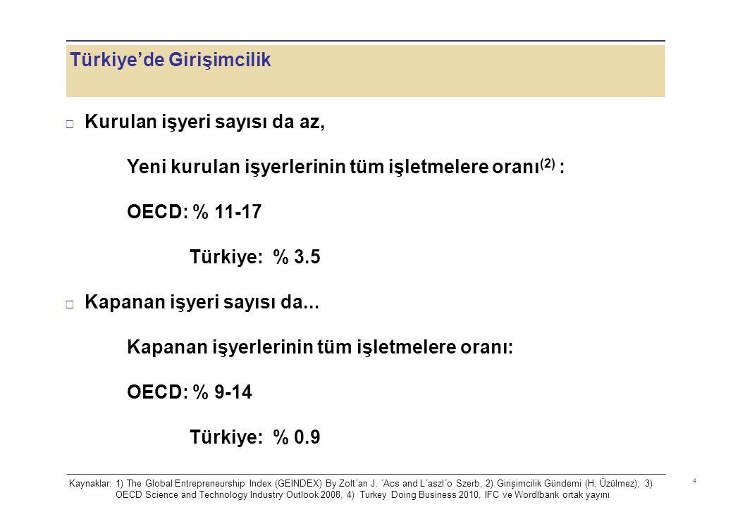 Türkiye'de Girişimcilik 4 □ Kurulan işyeri sayısı da az, Yeni kurulan işyerlerinin tüm işletmelere oranı (2) : OECD: % 11-17 Türkiye: % 3.5 □ Kapanan işyeri sayısı da...