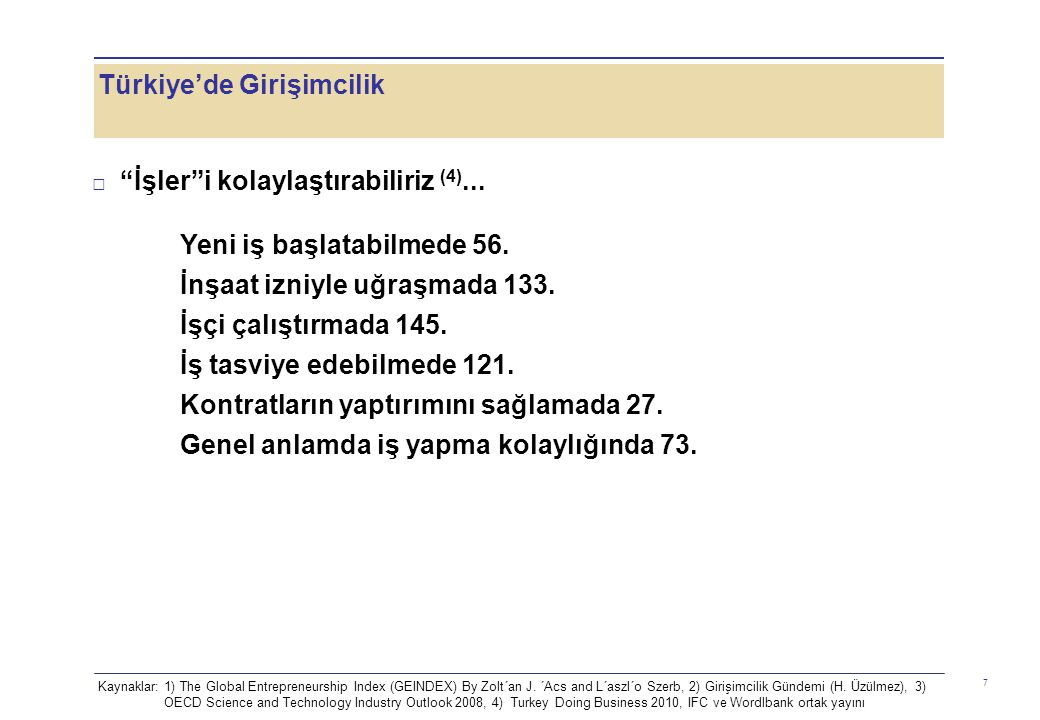 Türkiye'de Girişimcilik 7 □ İşler i kolaylaştırabiliriz (4)...