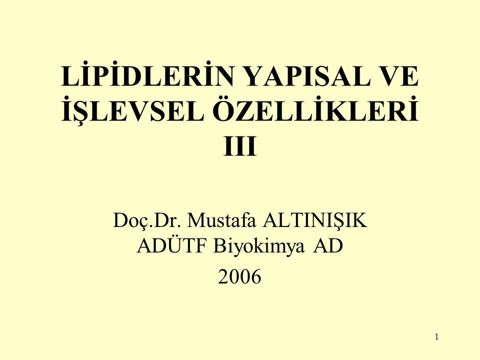 1 LİPİDLERİN YAPISAL VE İŞLEVSEL ÖZELLİKLERİ III Doç.Dr. Mustafa ALTINIŞIK ADÜTF Biyokimya AD 2006