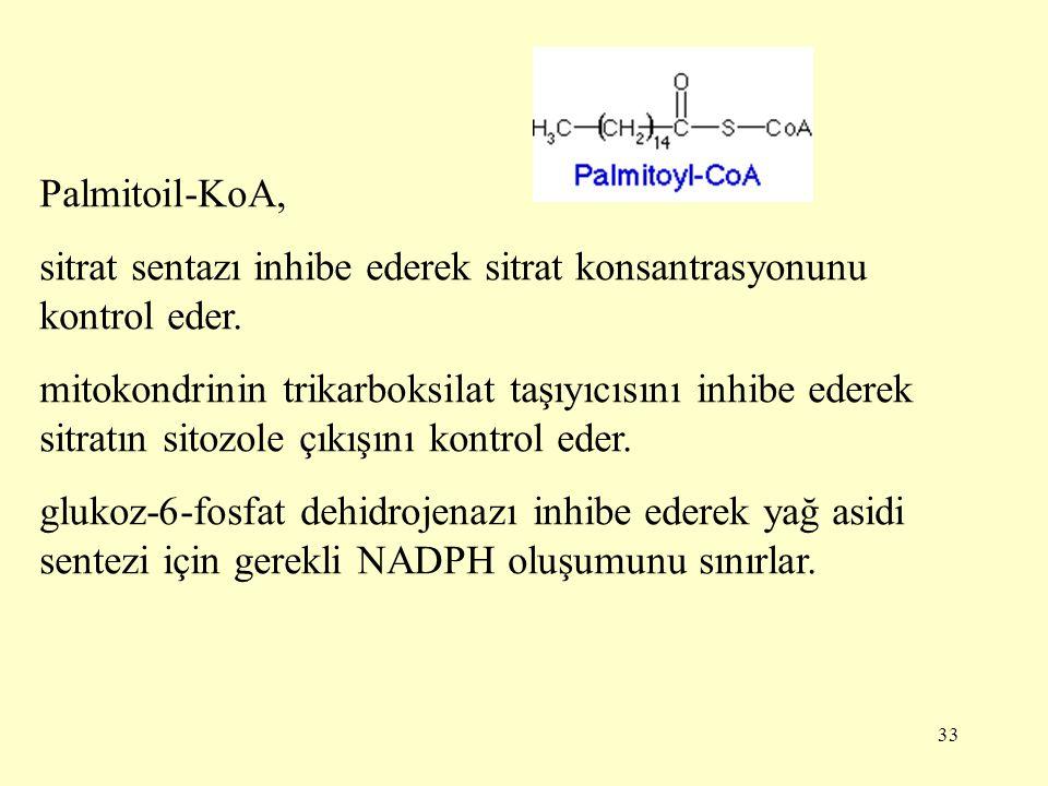 33 Palmitoil-KoA, sitrat sentazı inhibe ederek sitrat konsantrasyonunu kontrol eder. mitokondrinin trikarboksilat taşıyıcısını inhibe ederek sitratın