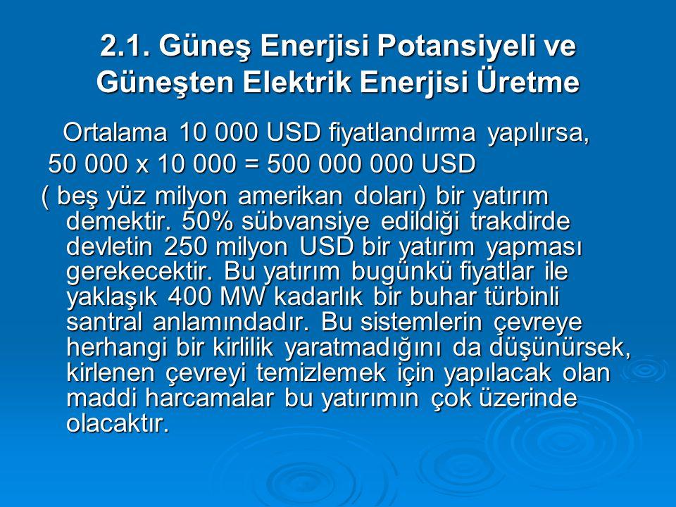 2.1. Güneş Enerjisi Potansiyeli ve Güneşten Elektrik Enerjisi Üretme Ortalama 10 000 USD fiyatlandırma yapılırsa, Ortalama 10 000 USD fiyatlandırma ya
