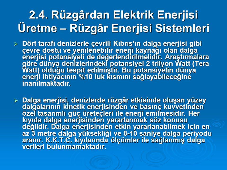 2.4. Rüzgârdan Elektrik Enerjisi Üretme – Rüzgâr Enerjisi Sistemleri  Dört tarafı denizlerle çevrili Kıbrıs'ın dalga enerjisi gibi çevre dostu ve yen