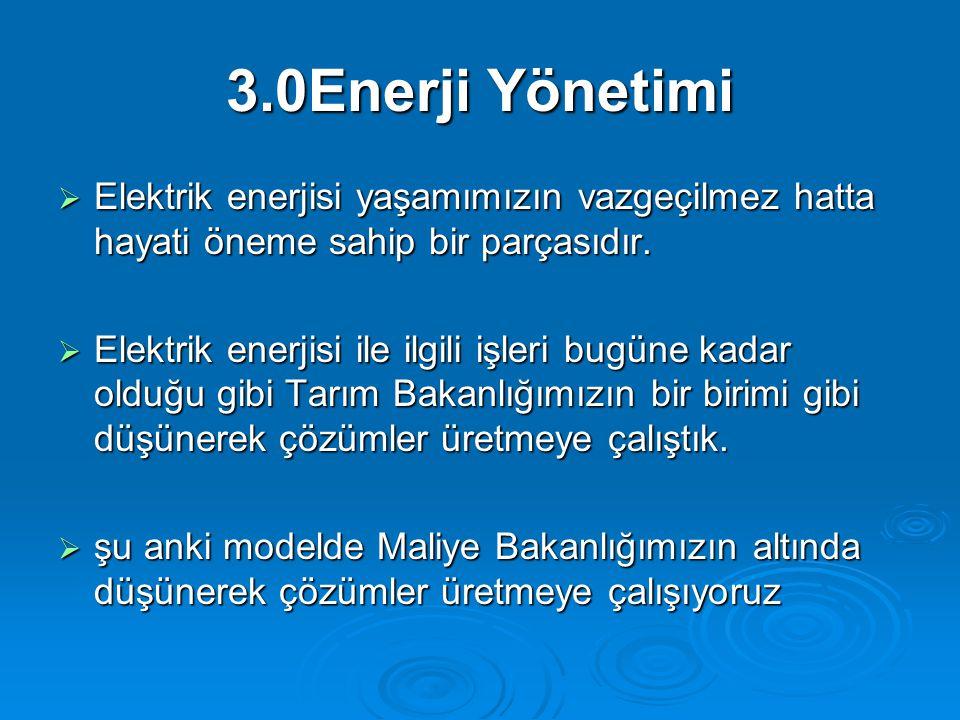 3.0Enerji Yönetimi  Elektrik enerjisi yaşamımızın vazgeçilmez hatta hayati öneme sahip bir parçasıdır.  Elektrik enerjisi ile ilgili işleri bugüne k