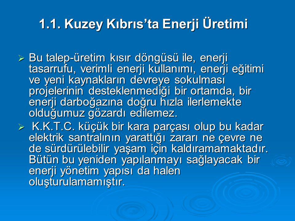 1.1. Kuzey Kıbrıs'ta Enerji Üretimi  Bu talep-üretim kısır döngüsü ile, enerji tasarrufu, verimli enerji kullanımı, enerji eğitimi ve yeni kaynakları