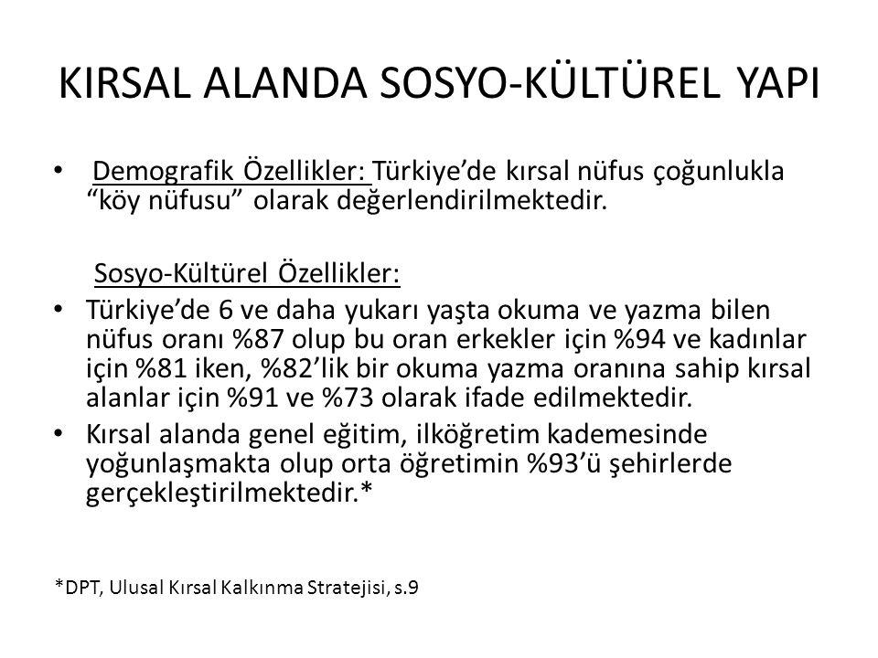 """KIRSAL ALANDA SOSYO-KÜLTÜREL YAPI Demografik Özellikler: Türkiye'de kırsal nüfus çoğunlukla """"köy nüfusu"""" olarak değerlendirilmektedir. Sosyo-Kültürel"""
