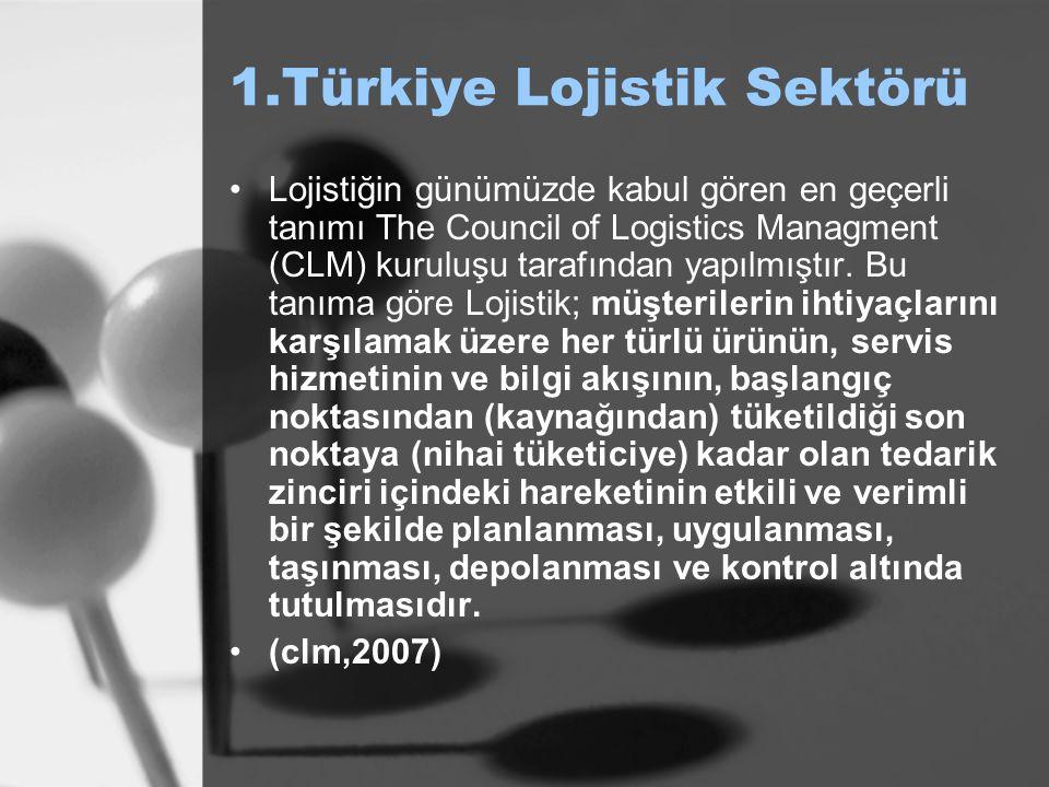 1.Türkiye Lojistik Sektörü Lojistiğin günümüzde kabul gören en geçerli tanımı The Council of Logistics Managment (CLM) kuruluşu tarafından yapılmıştır