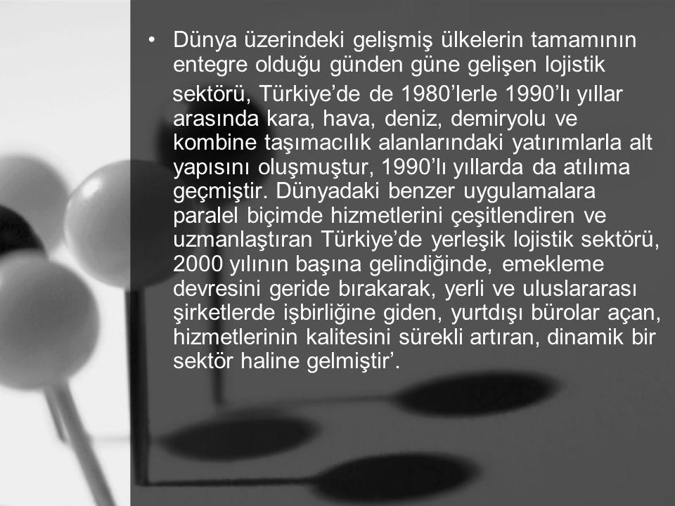 1.9.Türkiye'deki Bazı Lojistik Şirketler Türkiye'de gelişmekte olan sektörlerin başında gelen lojistiğin önemi, Türkiye'nin coğrafi konumu gözönünde bulundurulduğunda, uluslararası boyutta daha da artmaktadır.