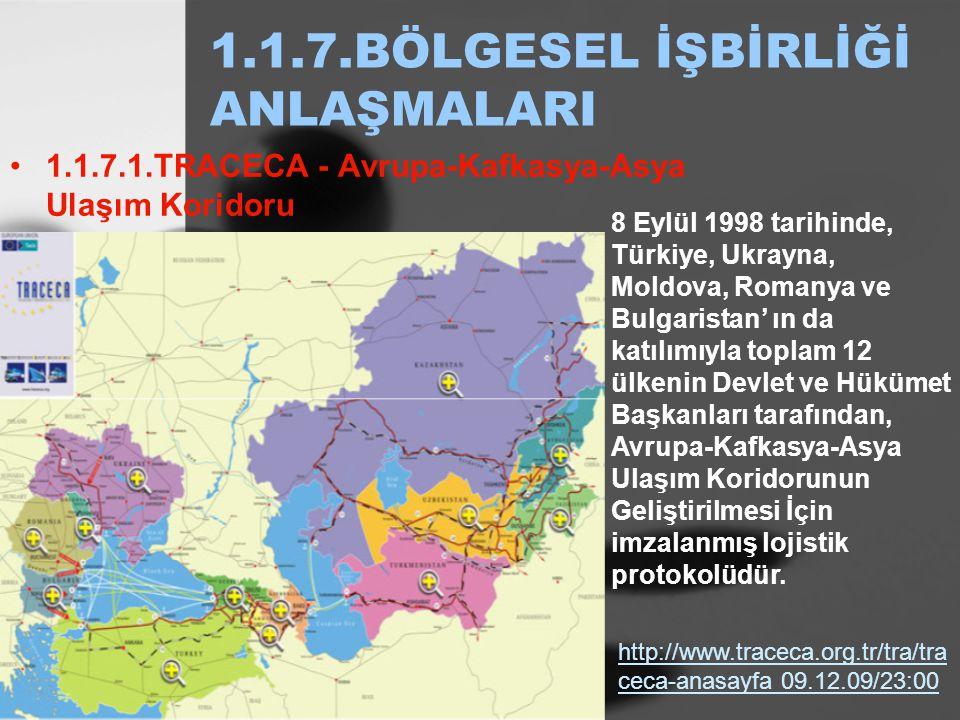 1.1.7.BÖLGESEL İŞBİRLİĞİ ANLAŞMALARI 1.1.7.1.TRACECA - Avrupa-Kafkasya-Asya Ulaşım Koridoru http://www.traceca.org.tr/tra/tra ceca-anasayfa 09.12.09/2