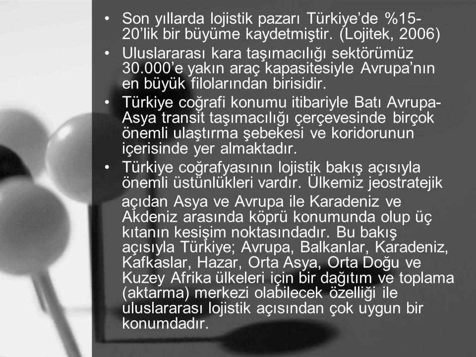 Son yıllarda lojistik pazarı Türkiye'de %15- 20'lik bir büyüme kaydetmiştir. (Lojitek, 2006) Uluslararası kara taşımacılığı sektörümüz 30.000'e yakın
