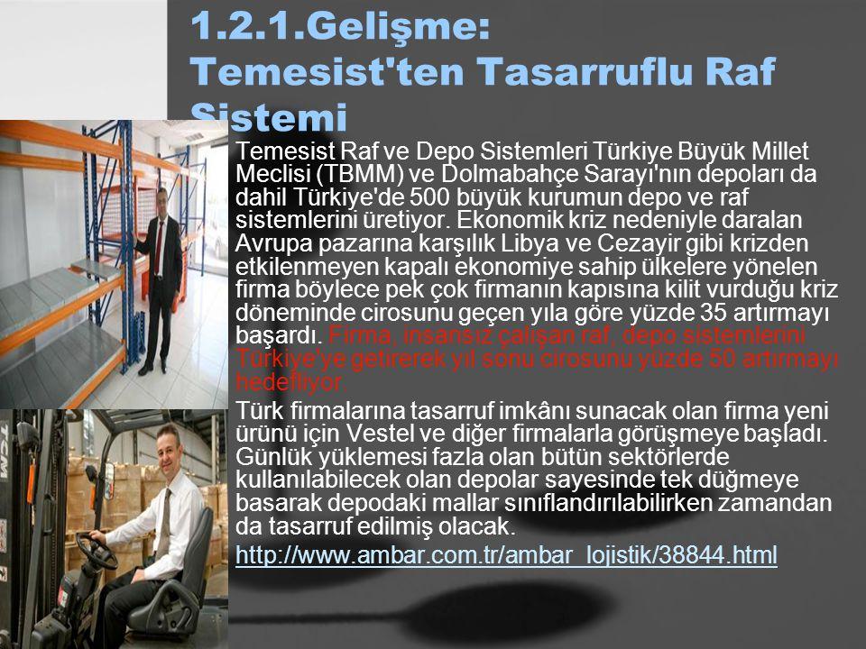 1.2.1.Gelişme: Temesist'ten Tasarruflu Raf Sistemi Temesist Raf ve Depo Sistemleri Türkiye Büyük Millet Meclisi (TBMM) ve Dolmabahçe Sarayı'nın depola