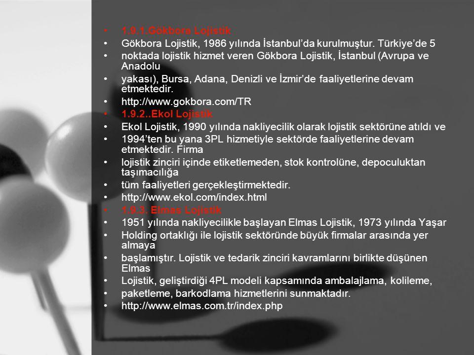 1.9.1.Gökbora Lojistik Gökbora Lojistik, 1986 yılında İstanbul'da kurulmuştur. Türkiye'de 5 noktada lojistik hizmet veren Gökbora Lojistik, İstanbul (