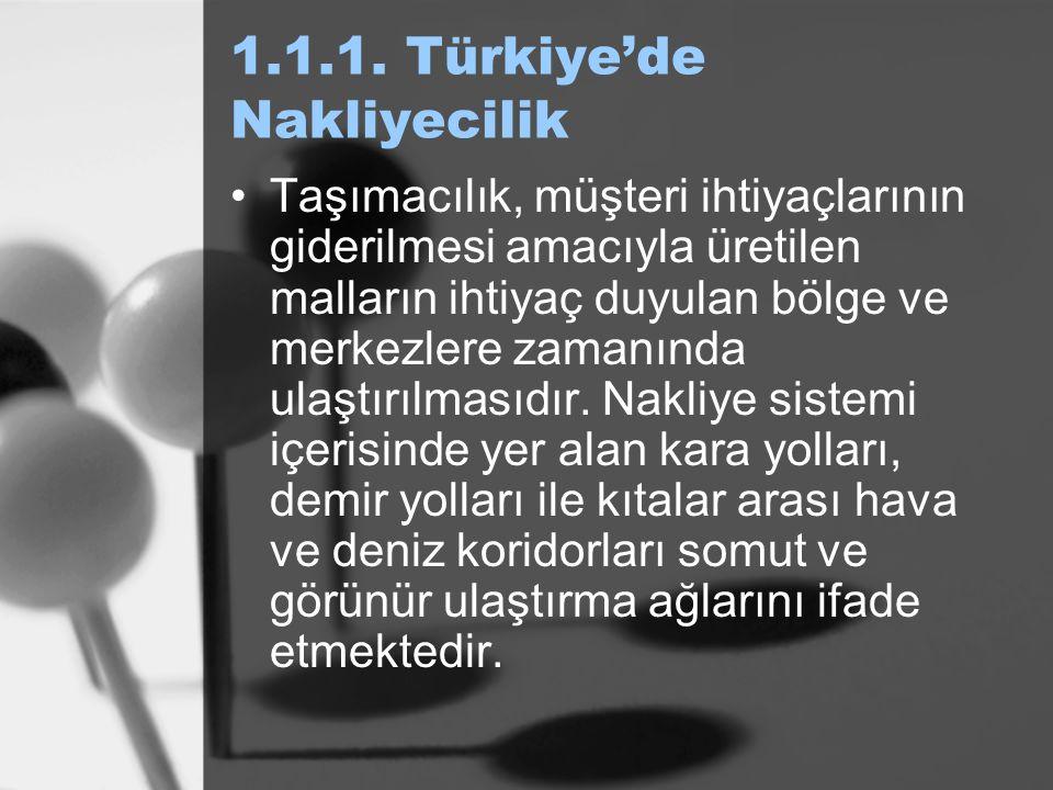 1.1.1. Türkiye'de Nakliyecilik Taşımacılık, müşteri ihtiyaçlarının giderilmesi amacıyla üretilen malların ihtiyaç duyulan bölge ve merkezlere zamanınd