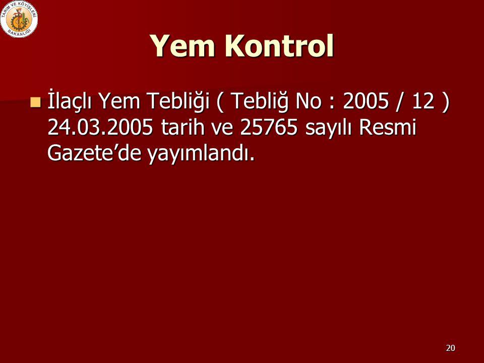 20 Yem Kontrol İlaçlı Yem Tebliği ( Tebliğ No : 2005 / 12 ) 24.03.2005 tarih ve 25765 sayılı Resmi Gazete'de yayımlandı. İlaçlı Yem Tebliği ( Tebliğ N