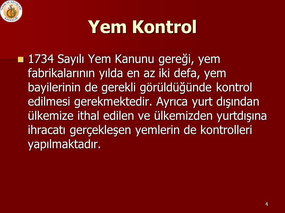 4 Yem Kontrol 1734 Sayılı Yem Kanunu gereği, yem fabrikalarının yılda en az iki defa, yem bayilerinin de gerekli görüldüğünde kontrol edilmesi gerekme