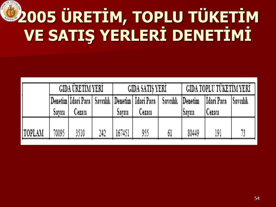 54 2005 ÜRETİM, TOPLU TÜKETİM VE SATIŞ YERLERİ DENETİMİ