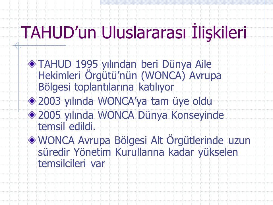 TAHUD'un Uluslararası İlişkileri TAHUD 1995 yılından beri Dünya Aile Hekimleri Örgütü'nün (WONCA) Avrupa Bölgesi toplantılarına katılıyor 2003 yılında