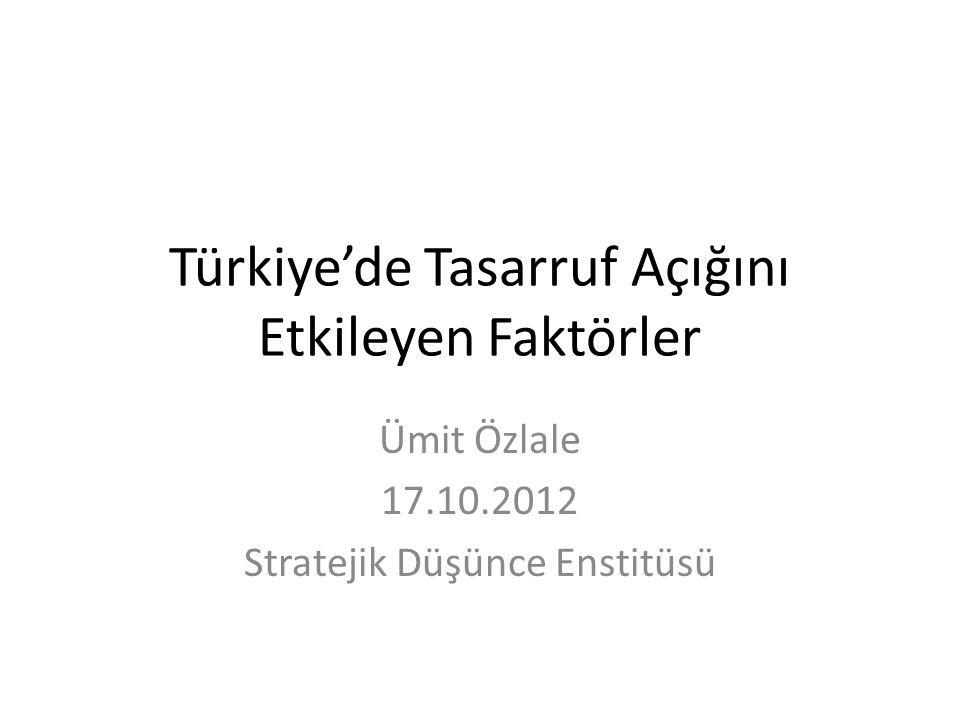 Türkiye'de Tasarruf Açığını Etkileyen Faktörler Ümit Özlale 17.10.2012 Stratejik Düşünce Enstitüsü