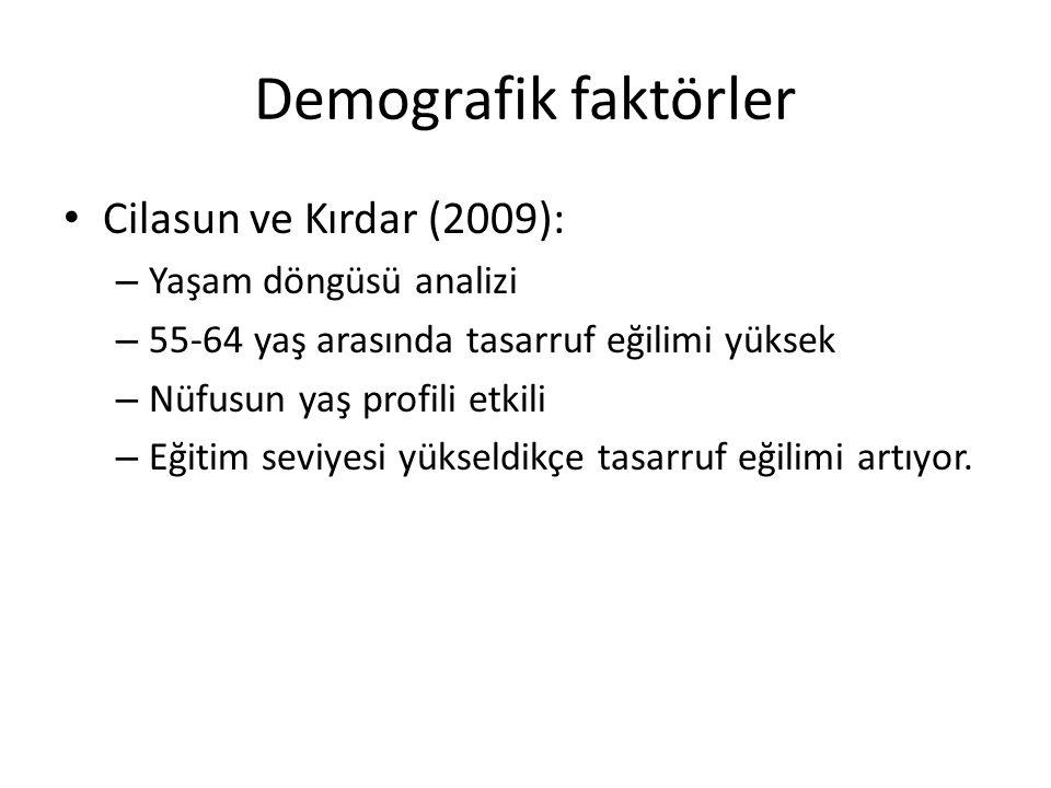 Demografik faktörler Cilasun ve Kırdar (2009): – Yaşam döngüsü analizi – 55-64 yaş arasında tasarruf eğilimi yüksek – Nüfusun yaş profili etkili – Eği