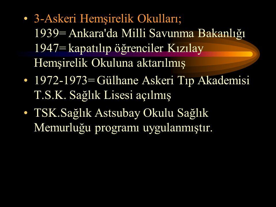 3-Askeri Hemşirelik Okulları; 1939= Ankara'da Milli Savunma Bakanlığı 1947= kapatılıp öğrenciler Kızılay Hemşirelik Okuluna aktarılmış 1972-1973= Gülh