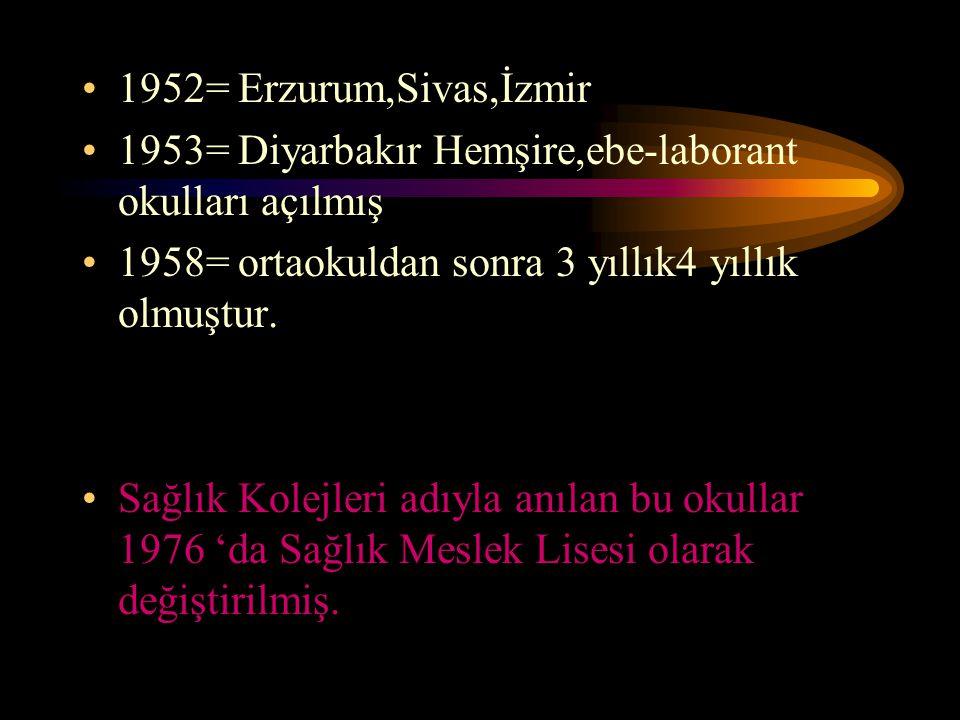 1952= Erzurum,Sivas,İzmir 1953= Diyarbakır Hemşire,ebe-laborant okulları açılmış 1958= ortaokuldan sonra 3 yıllık4 yıllık olmuştur. Sağlık Kolejleri a