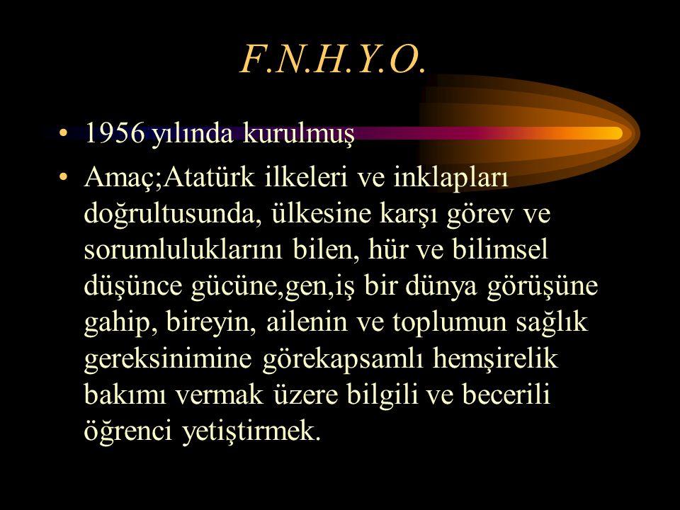 F.N.H.Y.O. 1956 yılında kurulmuş Amaç;Atatürk ilkeleri ve inklapları doğrultusunda, ülkesine karşı görev ve sorumluluklarını bilen, hür ve bilimsel dü