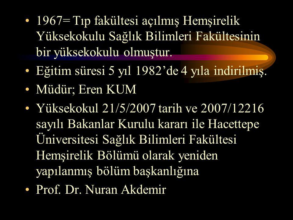1967= Tıp fakültesi açılmış Hemşirelik Yüksekokulu Sağlık Bilimleri Fakültesinin bir yüksekokulu olmuştur. Eğitim süresi 5 yıl 1982'de 4 yıla indirilm